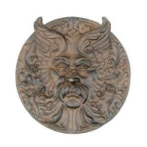 Hanging Cast Iron Mystical Man Face Plaque Yard Tree Wall