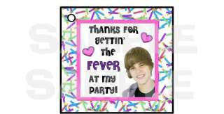 24 JUSTIN BIEBER gift hang tags BIRTHDAY PARTY favors