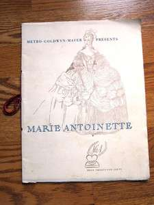 MARIE ANTOINETTE Premier Program 1938 Norma Shearer Tyrone Power J