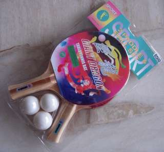STARS PURE WOOD MADE TABLE TENNIS RACKET SET NEW