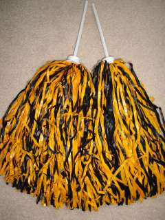 of BLACK & GOLD MULTI COLOR ROOTER Pom Poms *STEELERS COLORS*
