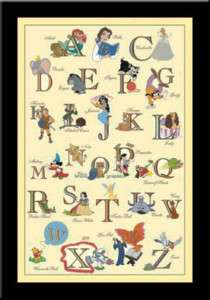 DISNEY ALPHABET CHILDRENS ART FRAMED PRINT 28X40