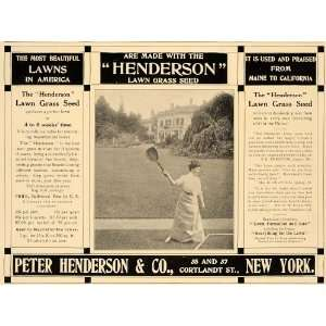 Ad Peter Henderson Lawn Grass Seed New York Tennis   Original Print Ad