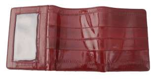 BURGUNDY GENUIN EEL SKIN LEATHER MENS TRIFOLD WALLET