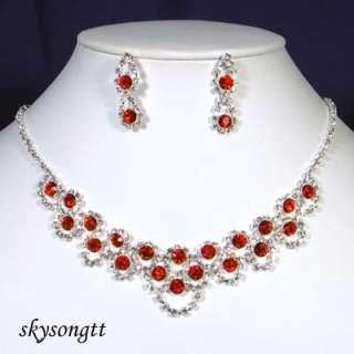 Swarovski Crystal Ruby Red Pendant Necklace Set S1376R