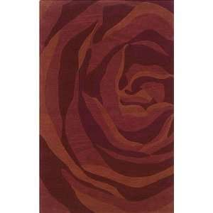 Area Rug Huge Rose Pattern in Brick and Rust