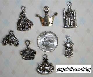 LEAD FREE Silver Princess 7pc Charm LOT Castle Carriage