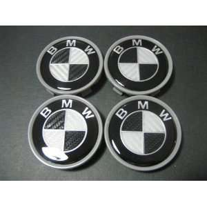 4 X BMW Black CARBON FIBER Wheel Center Caps, Badge