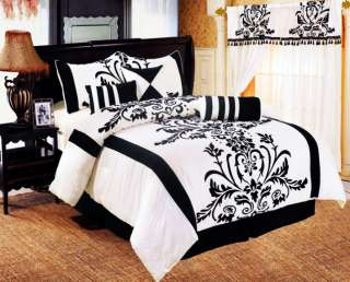 7pc King Queen Full Bedding Black / White Flock Satin Comforter Set