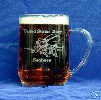 USNavy Seabees logo etched 20oz Glass Mug