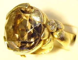 Vintage 12.35ctw Smoky Topaz & Diamond 14KT Solid Gold Ring ~ 6.5