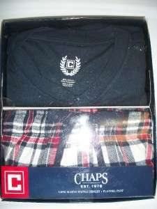 NWT Chaps Red White Blue Plaid Sleepwear Pajama PJ Set Henley Neck