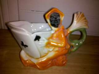 Porcelain Witch with Ace Cards (Spades,Clubs,Diamonds,Hearts) Creamer