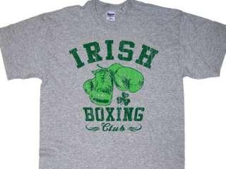 IRISH BOXING CLUB T SHIRT ST PATRICKS DAY ATH GREY MD