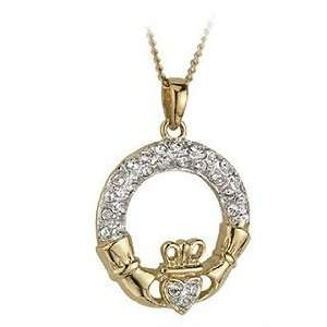 Gold Plated Crystal Claddagh Pendant   Made in Ireland Jewelry
