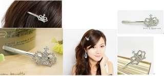Product 1pc Fashion Rhinestones Crystal Crown Hairpin Tiara 0849