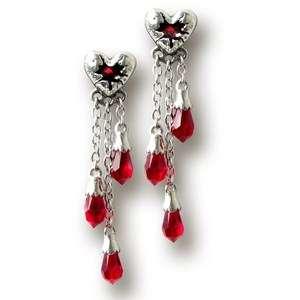 Pewter Red Swarovski Crystal Bleeding Heart Lover Dangle Earrings