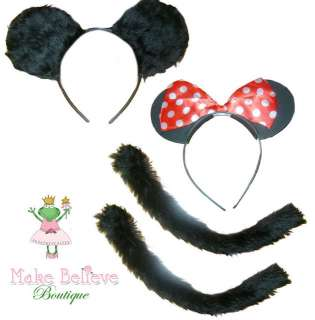 Minnie Mouse & Mickey Mouse Ears & Tails Fancy Dress