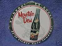 Mountain Dew Hillbilly Round Metal Tin Sign Decor Soda