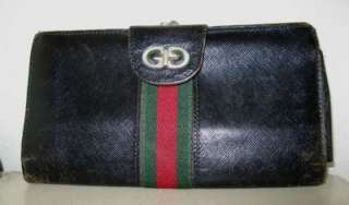 GUCCI Vintage GG Black Leather Snap Lock Coin Purse Wallet