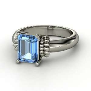 Beluga Ring, Emerald Cut Blue Topaz Sterling Silver Ring