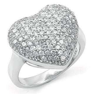 Sterling Silver CZ Pave Heart Shape Fashion Ladies Ring