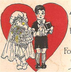 VALENTINES DAY Vintage ART DECO Greeting Card  BRIDE & GROOM