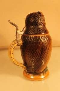 GOLDEN CROWN CERAMIC OWL STEIN LIDDED WEST GERMANY 740 NR |