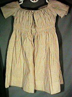 Lovely Antique Childs Brown & White Calico Dress 1840s