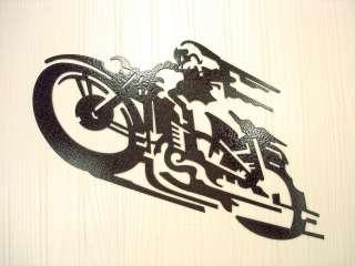 Metal Wall Art Decor Speeding Black Motorcycle