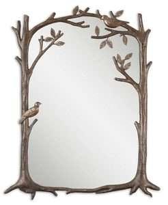 Bronze Finish Branch Leaf Bird Rectangle Wall Mirror
