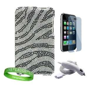 Sparkling jeweled Classic White & Black Zebra Apple ipod
