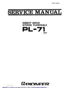 Pioneer PL 71 Turntable Service Manual PDF Formt