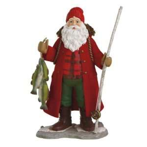 Pack of 2 Mountain Man Santa Fishing Table Top Figurines