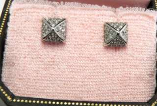 Auth Juicy Couture Silver Pave Pyramid Stud Earrings