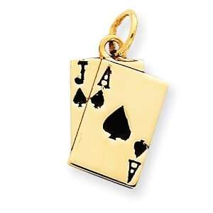 Enameled Blackjack Playing Cards Charm in 14k Yellow Gold
