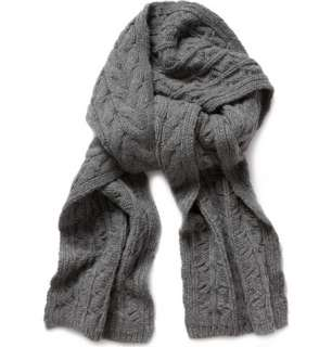 Black Fleece Cable Knit Wool Scarf  MR PORTER