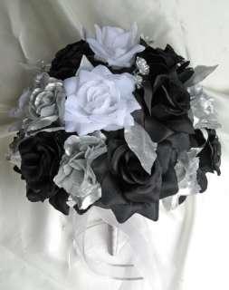 21pc ROUND bouquet wedding flower BLACK WHITE SILVER