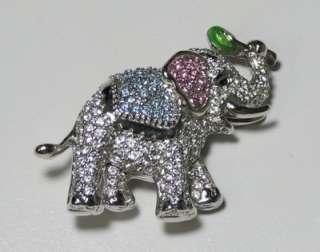 NEW SWAROVSKI AUTHENTIC ELEPHANT PIN/BROOCH PINK/AQUA CRYSTALS WOMENS