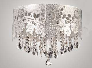 DRUM SHADE CRYSTAL CEILING CHANDELIER PENDANT LIGHT FIXTURE LIGHTING