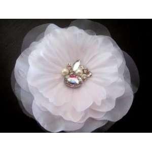 Wedding Bridal Hair White Organza Flower Fascinator Crystals Center