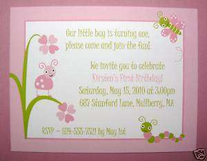 25 Adorable Baby Bugs First Birthday, Shower Invitation