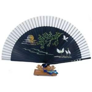 Silver J Handmade Bamboo & silk hand fan   black crane