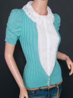 Knit Lace Ruffles Collared Built in Career Shirt Short Sleeves Blouse