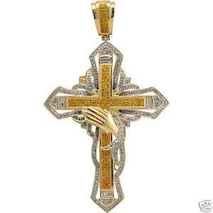 NEW Diamond Pave Gold Mens Cross Pendant