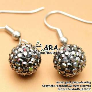 15 Colors Pick Style 10mm Swarovski Crystal Disco Ball Beads Earring