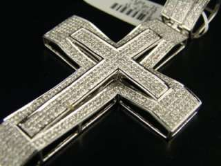 MENS 10K WHITE GOLD DUAL VS PAVE DIAMOND CROSS 3.0 CT