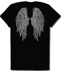 Gothic Angel Wings Girls Juniors T Shirt Tattoo Back