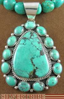 Navajo Sterling Silver Turquoise Pendant & Necklace