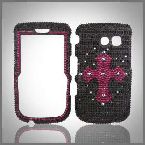 Pink Cross on Black Cristalina crystal bling rhinestone